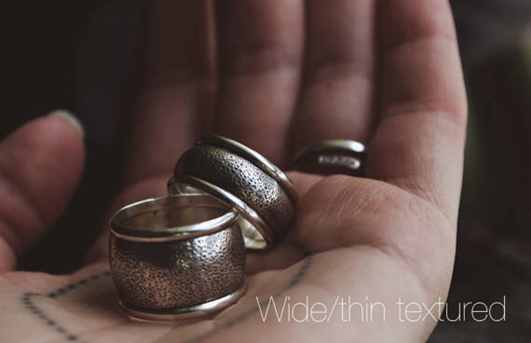 The Go To Ring | Made To Order Textured or Stamped Wide Ring | Made to Your Size