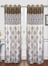 cream n brown abstract print door curtain (DC20)