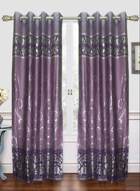 purple zari print door curtain (DC21)