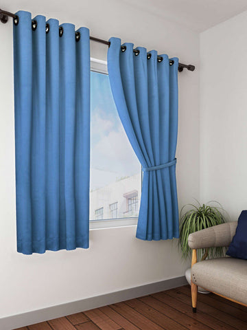 Blue Solid Premium Blackout Window Curtain (WC108)