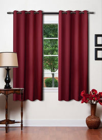 Maroon Solid Premium Blackout Window Curtain (WC111)