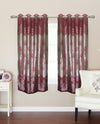 maroon petal print window curtain (WC113)