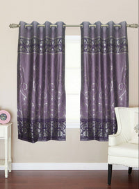 purple zari print window curtain (WC116)