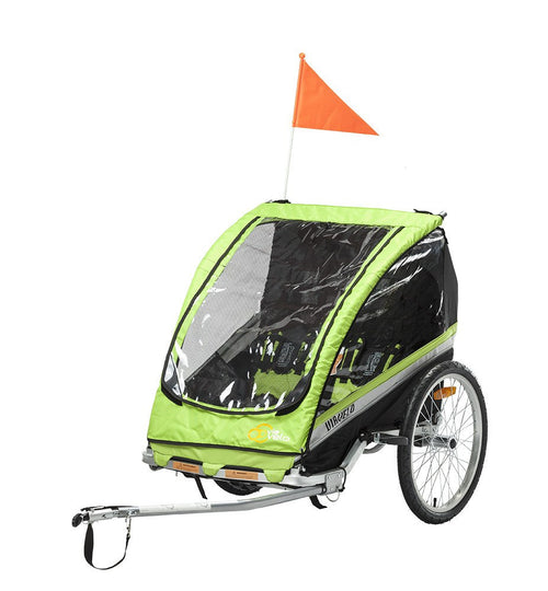 Via Velo Maverick - 2 Child Bicycle Trailer | Green | Lightweight | Aluminum Alloy - Viavelo