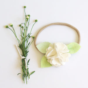 Carnation headband or clip - White