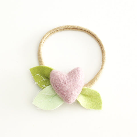 Baby Rose single flower headband/hair clip - neutral pink
