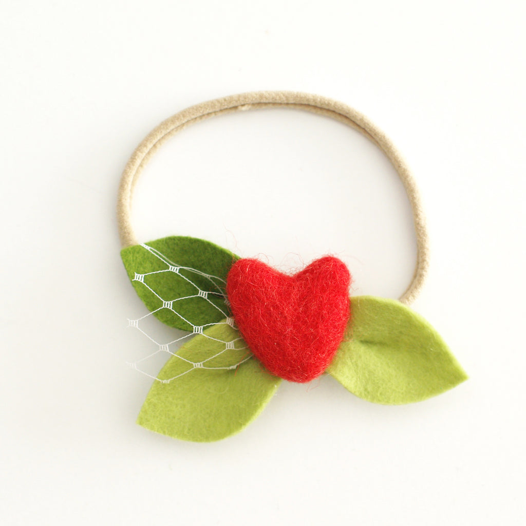 Heart Bloom 'Red' - headband or clip