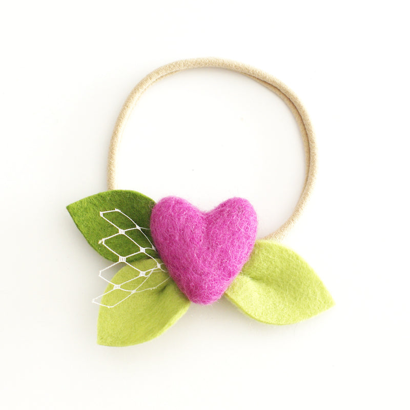Heart Bloom 'Violet' - headband or clip