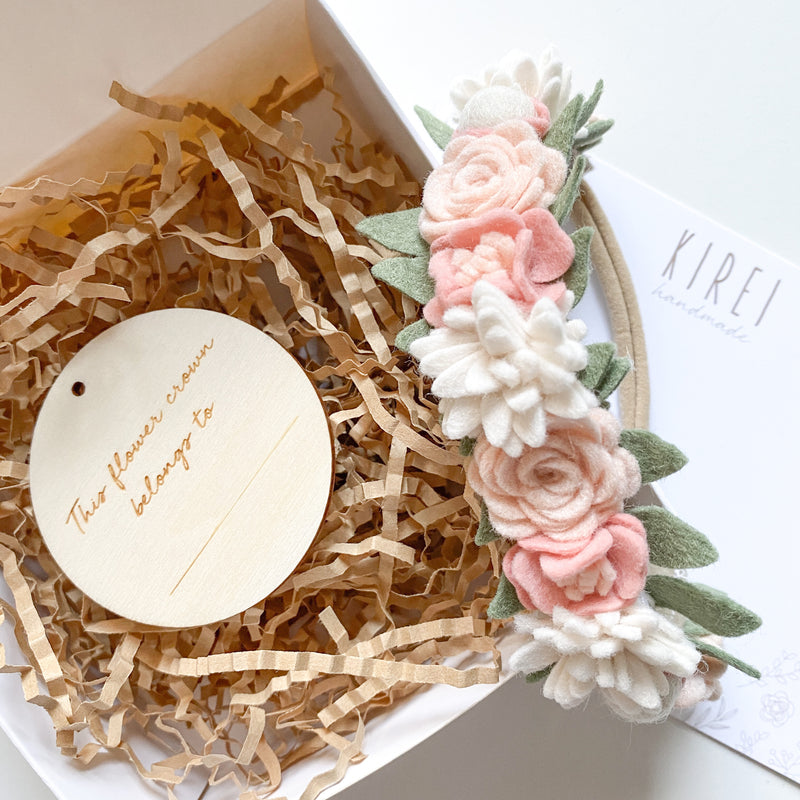Dainty flower crown - classic blush *with FREE keepsake box and 'This flower crown belongs to...' timber plaque*