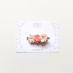 Dainty rose flower bar clip - classic blush