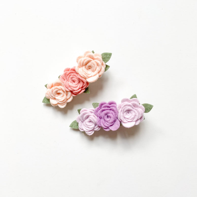 Set of 2 dainty rose flower bar clip
