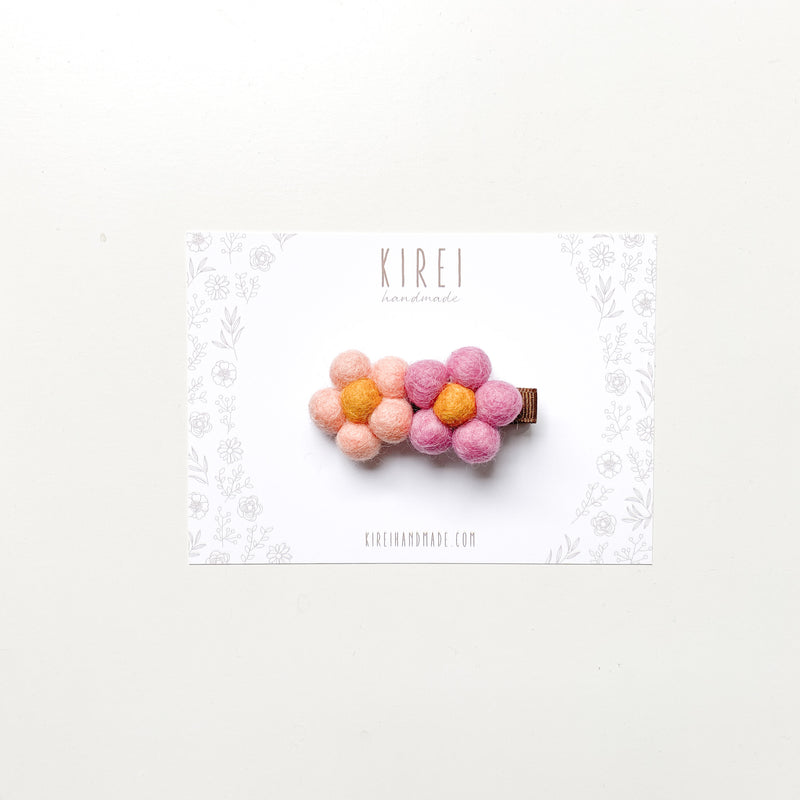 Double pompom flower bar clip - blossom + peach