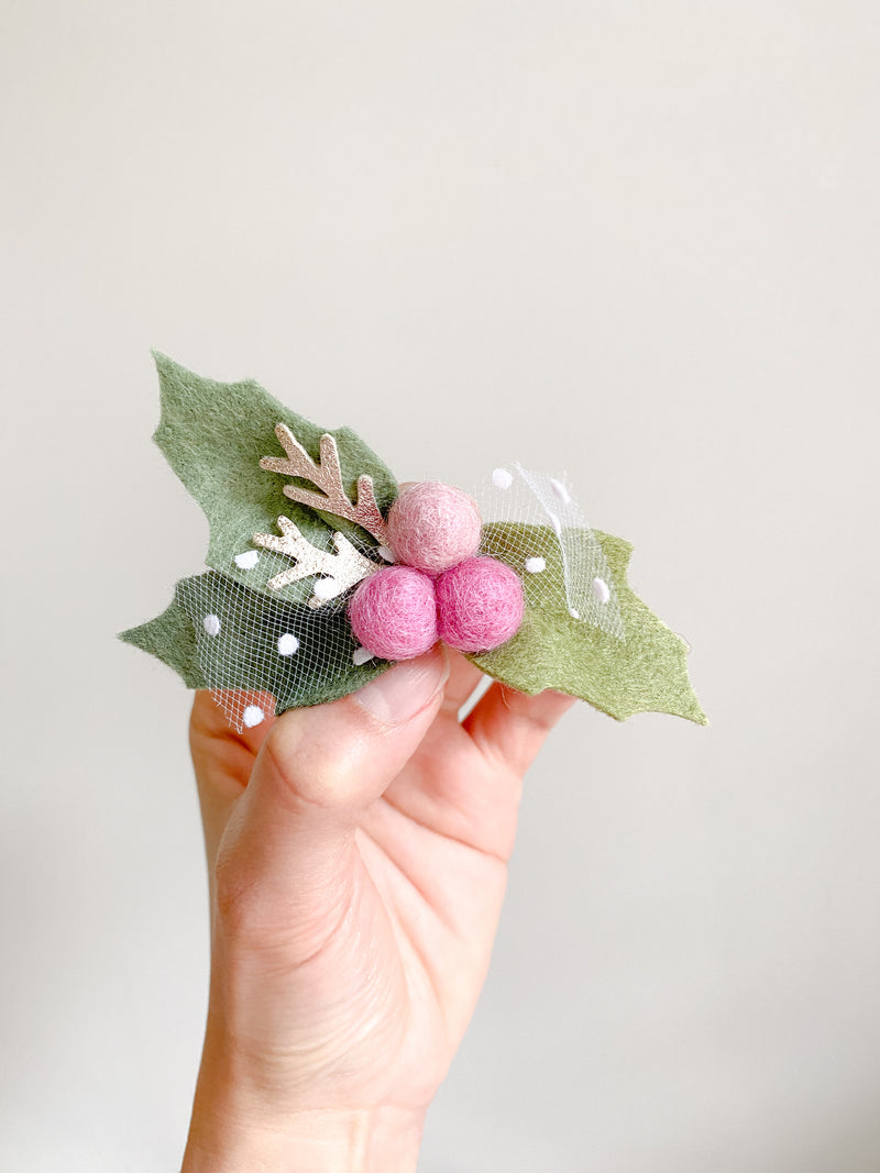 Berries headband/hair clip - pink