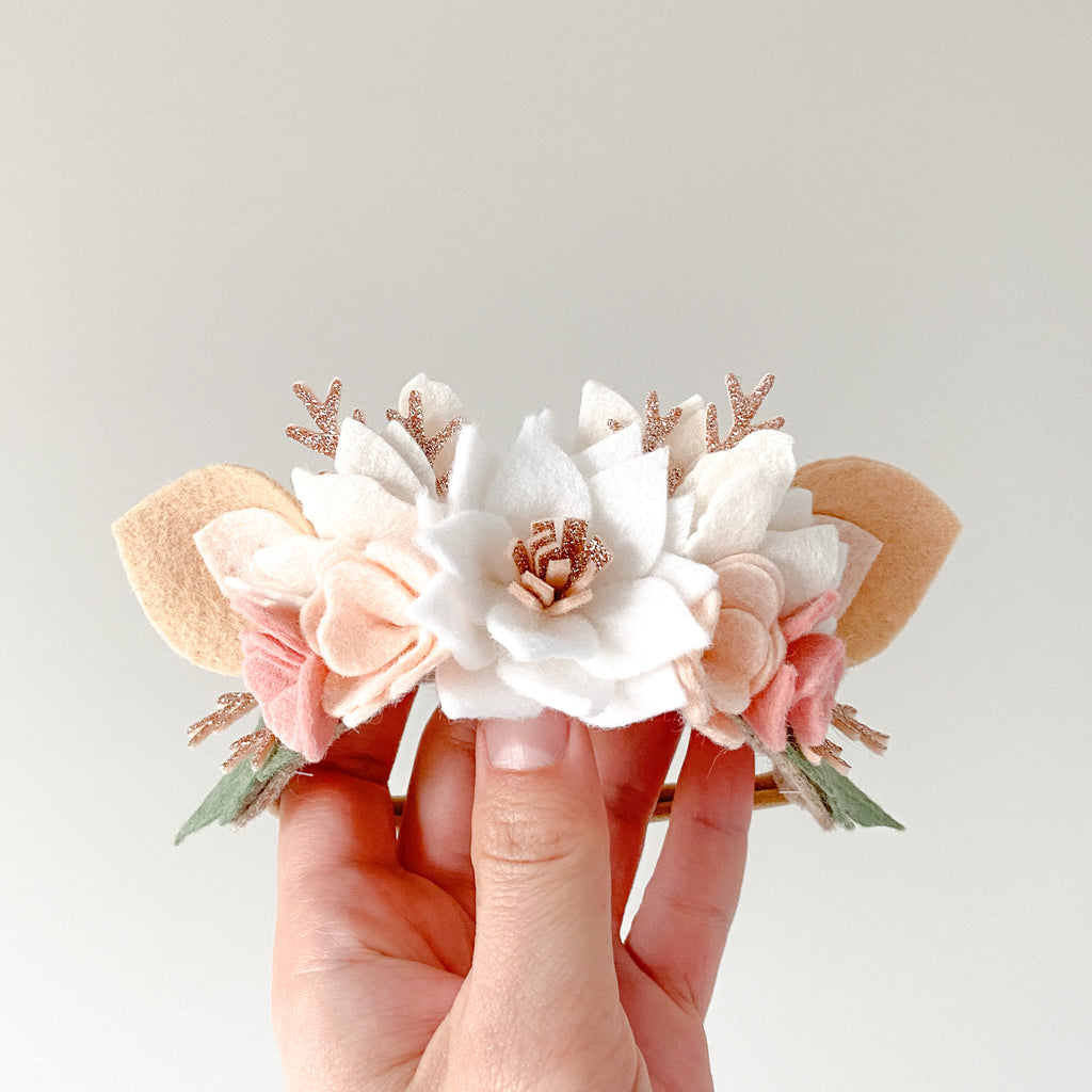 Christmas Fawn Flower Crown - white/ rose gold