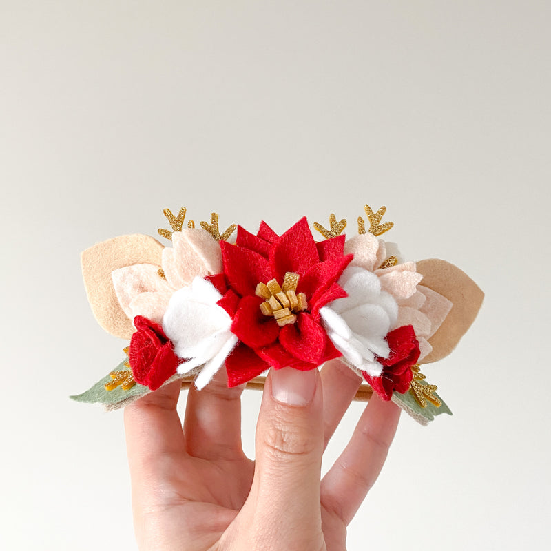 Christmas Fawn Flower Crown - red/ gold