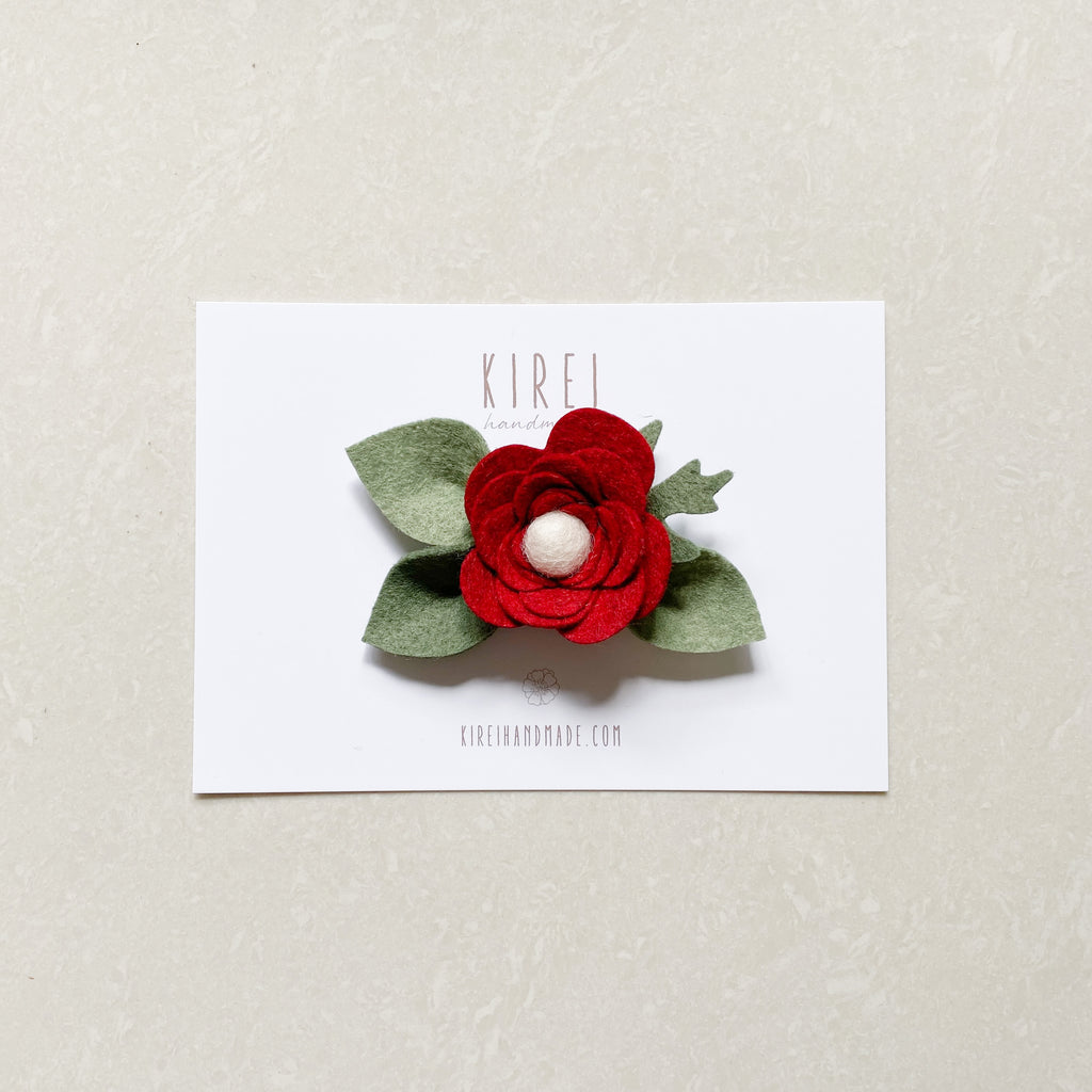 Ranunculus headband/ hair clip - heathered red