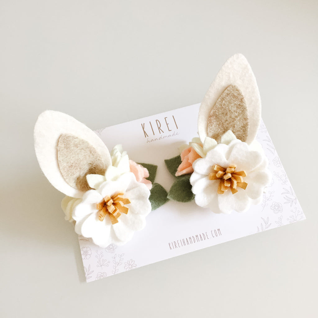 Blossom Bunny Ears Hair Clips - neutral