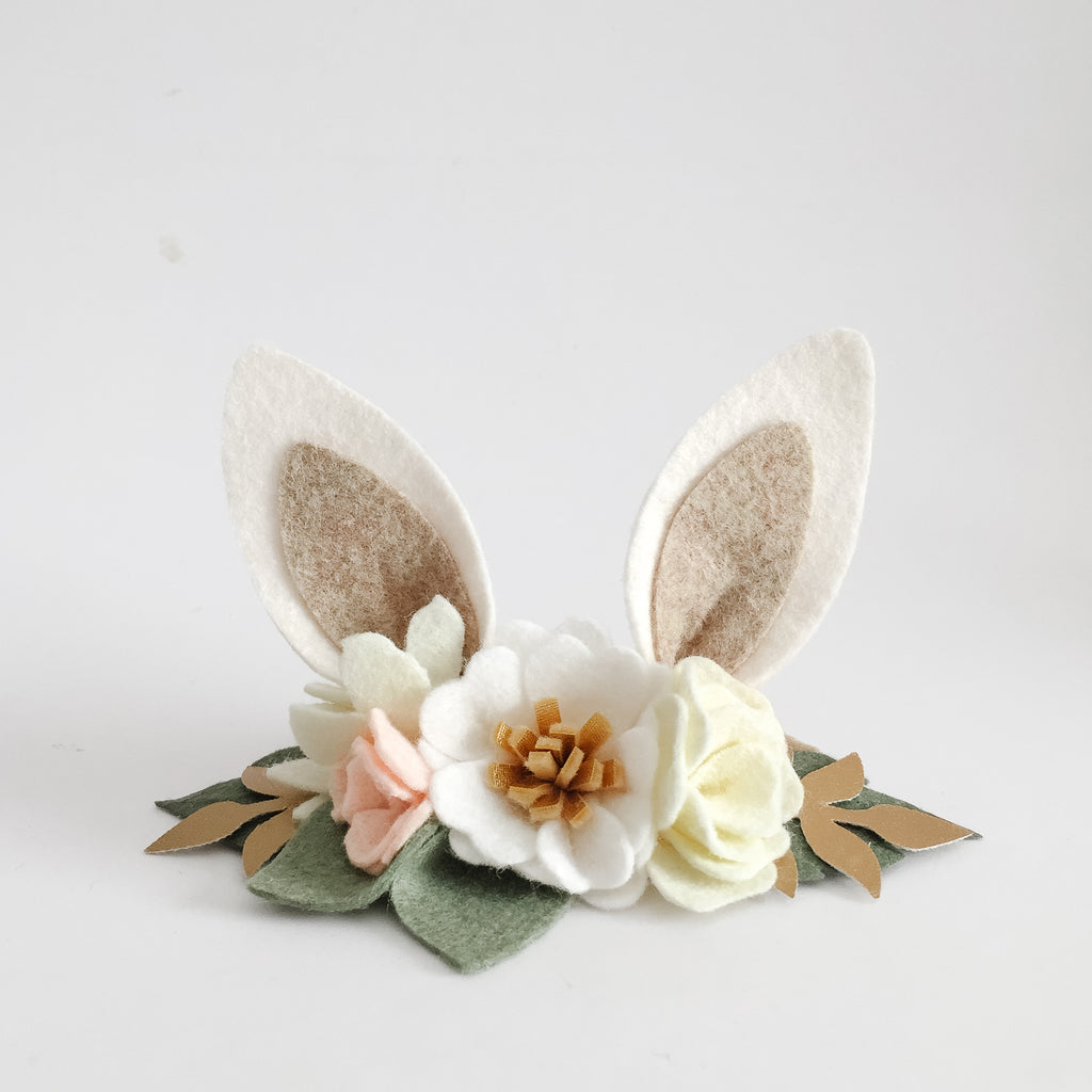 Blossom Bunny Ears Headband - neutral