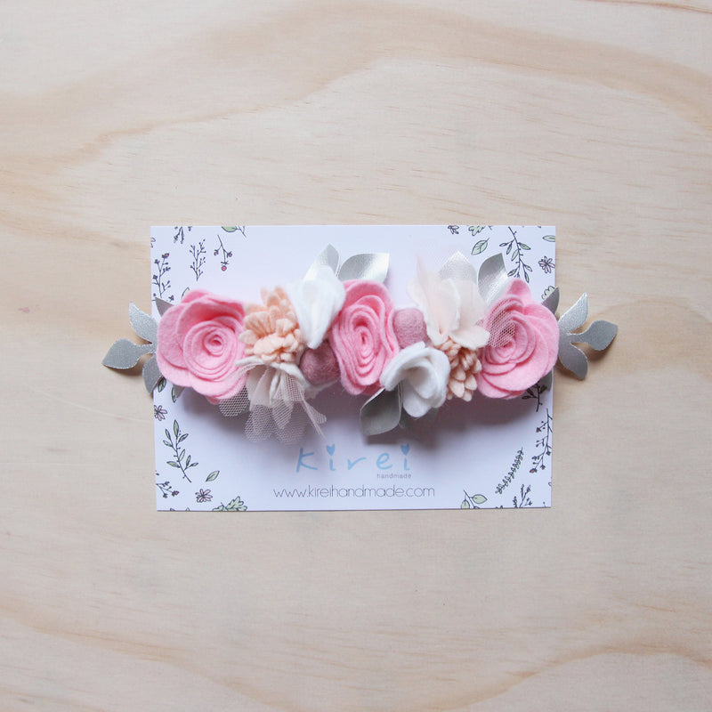 Enchanted Garden flower crown - pink + silver