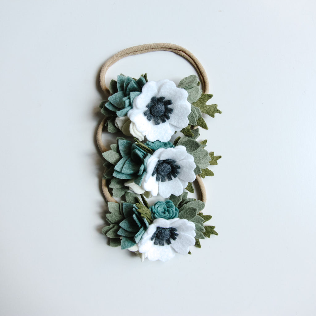 Succulent and Anemone headband/ hair clip