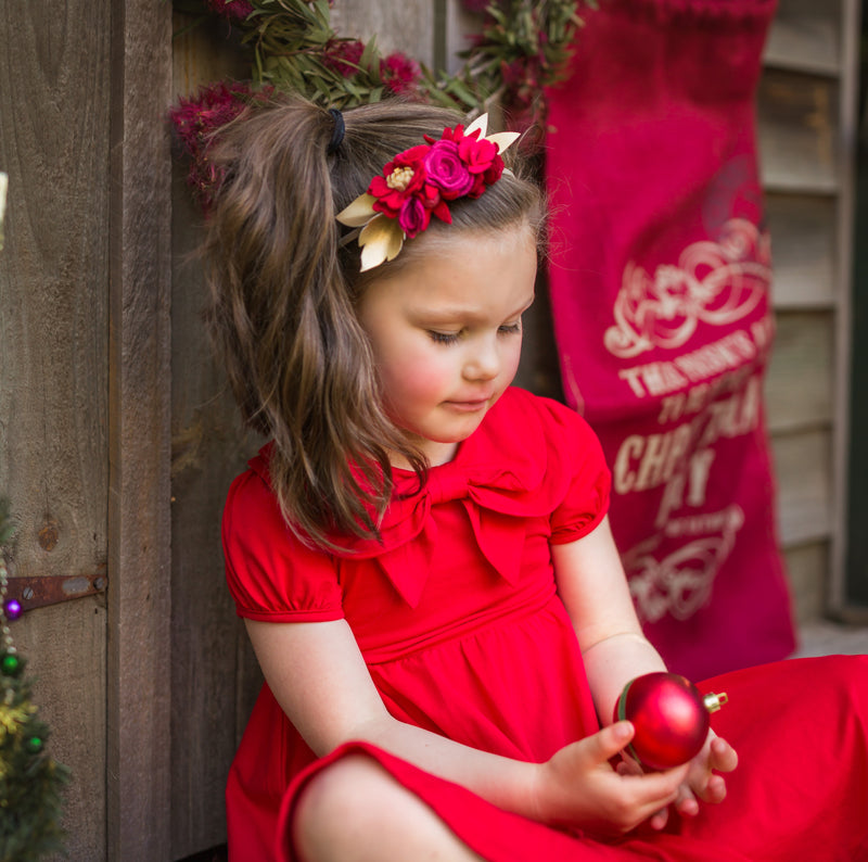 Christmas Red Luxe small flower crown