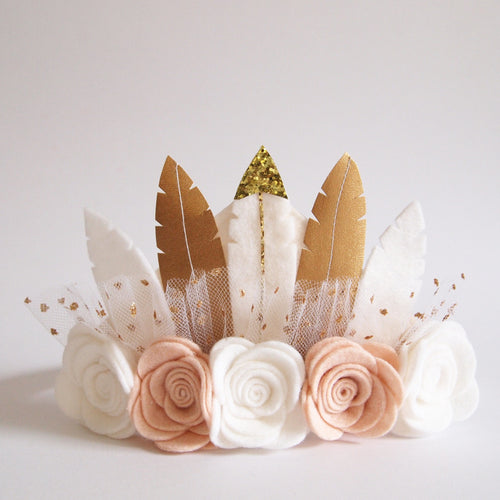 Neutral Rose Feather Crown