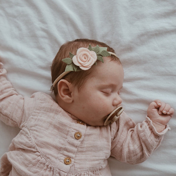 Baby Rose headband/hair clip - Neutral pink
