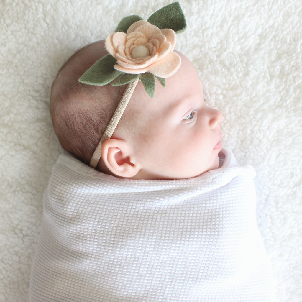 Ranunculus headband or hair clip - neutral pink