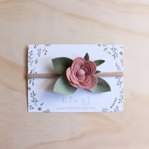 Baby Rose single flower headband/hair clip - blush