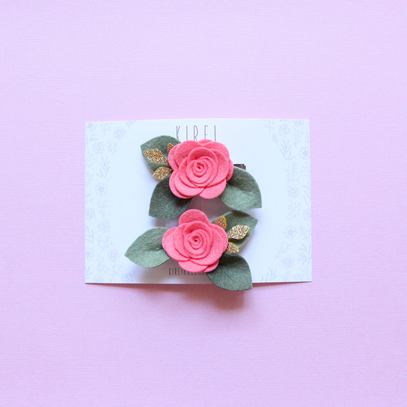 Valentine's Day rose piggies clips - coral