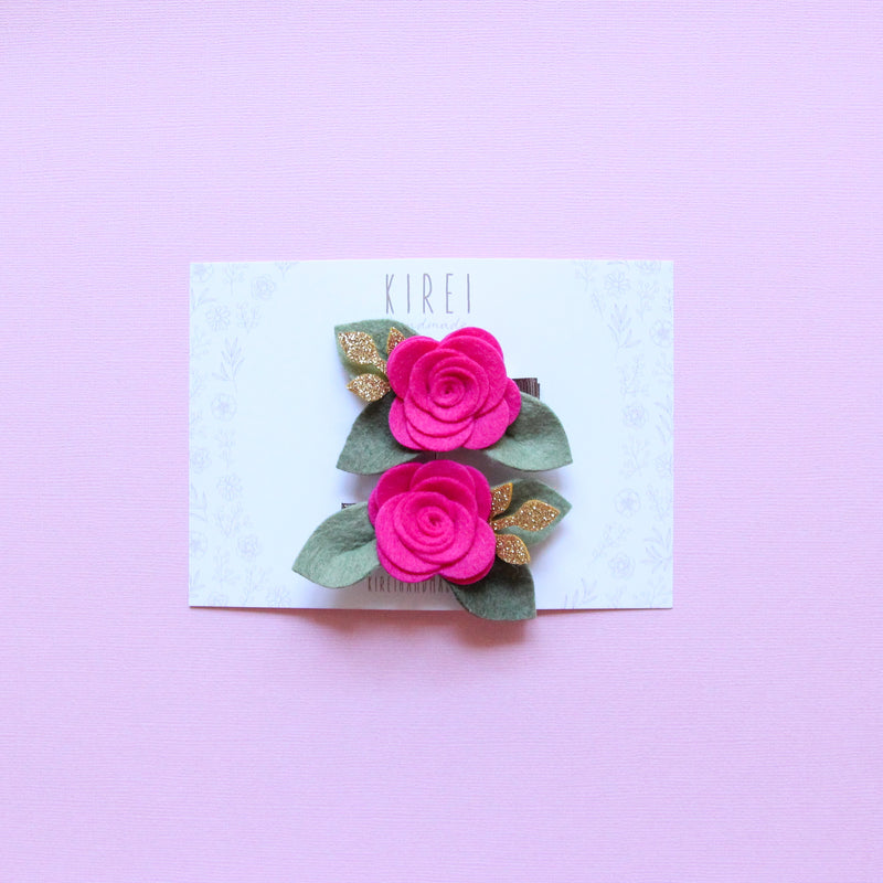 Valentines day rose piggies clips - magenta