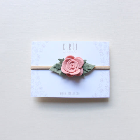 Ranunculus headband/ hair clip - rose smoke