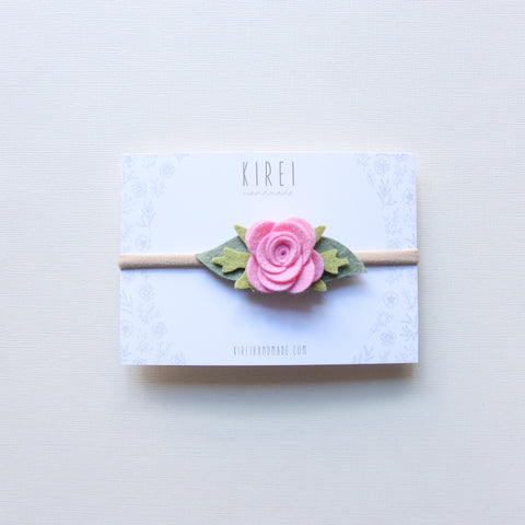Baby Rose headband/hair clip - peach