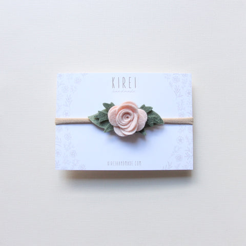 Christmas Edition * baby rose headband/ clip - neutral pink