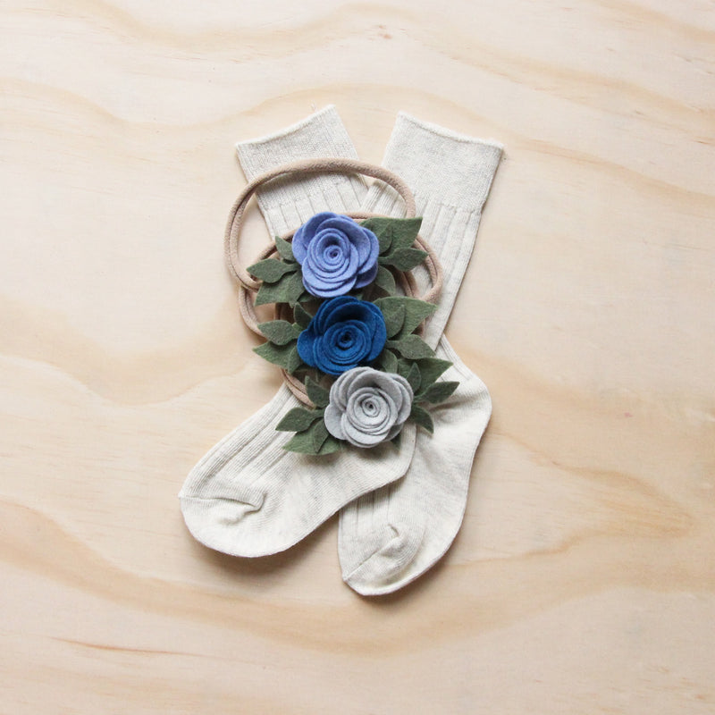 Baby Rose headband or hair clip - marine
