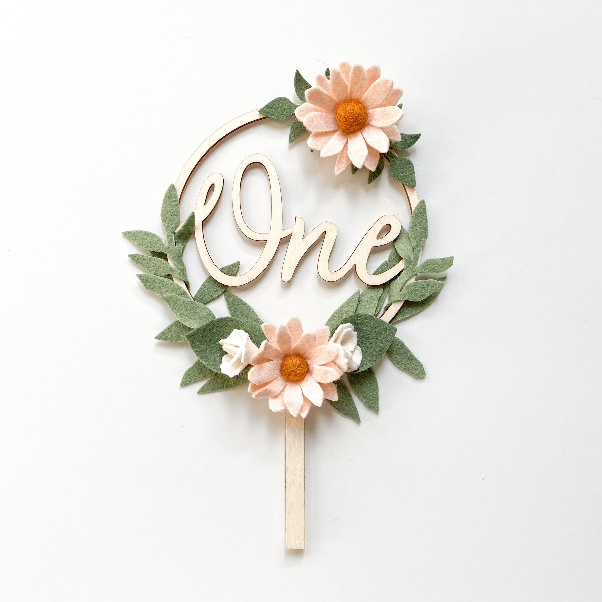 Daisy Cake Topper - neutral pink *Multiple words to choose from*