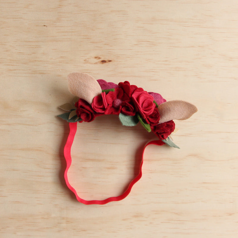 Christmas Deer flower crown - red
