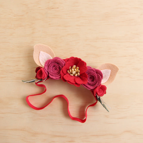 Christmas Deer flower crown - white