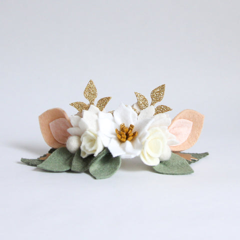 Poinsettia headband/ clip - neutral pink