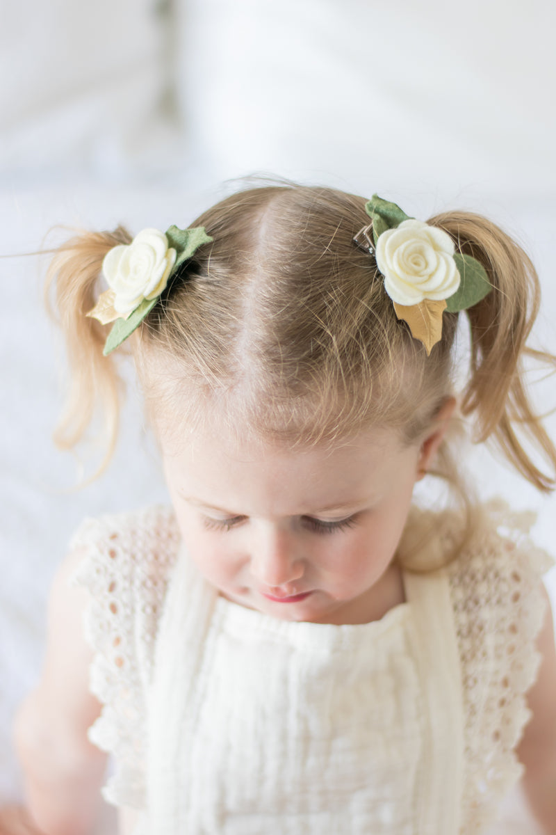 Christmas Edition * baby rose headband/ clip - ivory