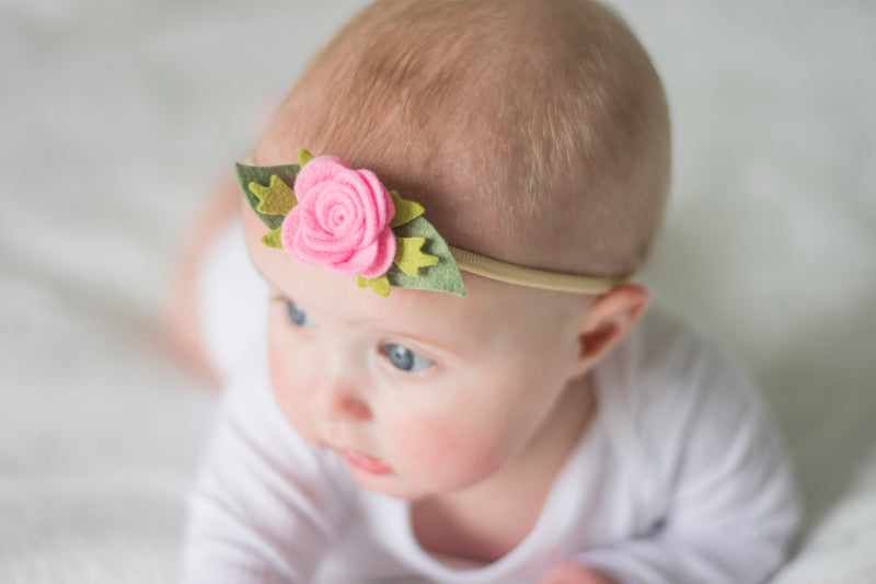 Baby Rose headband/hair clip - candy pink