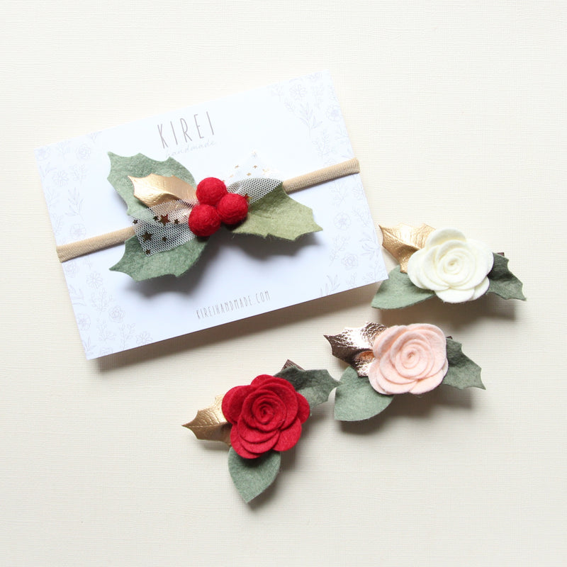 Christmas Edition * baby rose headband/ clip -red