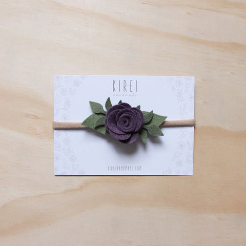 Ranunculus headband or hair clip - mulberry