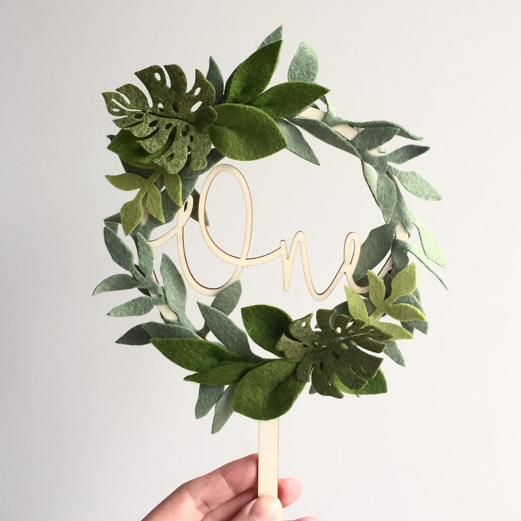 Monstera Leaves Wreath Cake Topper *Multiple words to choose from*