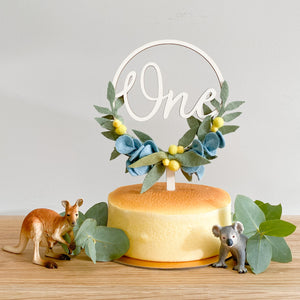 Wattle and Gum Leaves Cake Topper *Multiple words to choose from*