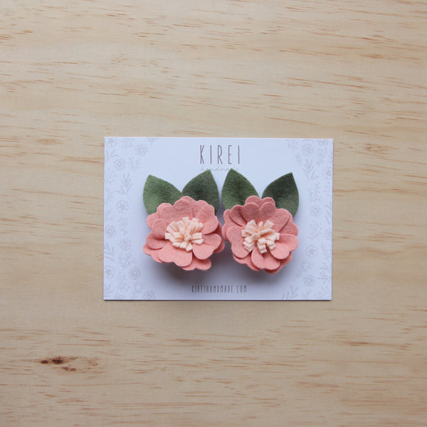 Kirei Bloom piggy clips - blush