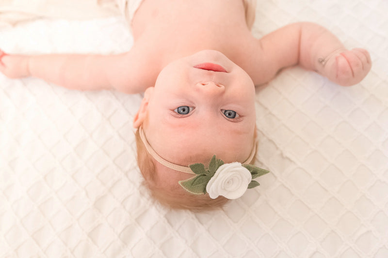 Baby Rose single flower headband/hair clip - white