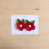 Christmas Ranunculus flower set of 2 piggies clips