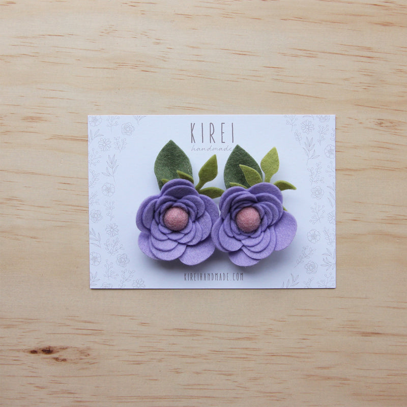 Ranunculus flower set of 2 piggies clips - lilac