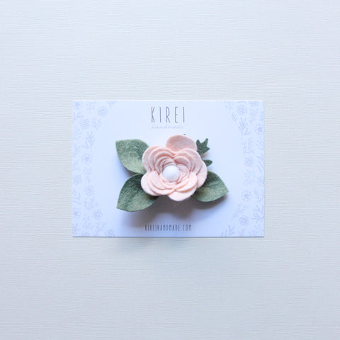Double pompom flower bar clip - seafoam + iris